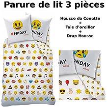 EMOJI EMOTICONS - Parure de lit (3pcs) - Housse de Couette (140x200) + Taie d'Oreiller (63x63) + Drap housse (90x190) - Smiley