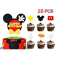BeYumi Mickey Inspired Birthday Cake Topper for Kids, 25 PCS Cupcake Decoration Supplies for Mickey Themed Party