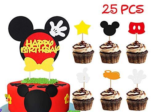BeYumi Mickey inspiriert Geburtstagstorte Topper für Kinder, 25 Stück Cupcake Dekoration Lieferungen für Mickey Motto Party (Baby Mickey Mouse Dekorationen Für Die Party)