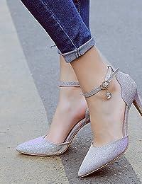 LEI&LI Zapatos de boda-Tacones-Tacones / Puntiagudos-Boda / Vestido / Fiesta y Noche-Negro / Rosa / Plata-Mujer / Para Niña , 3in-3 3/4in-silver