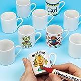 Bastelset - Kleine Porzellan-Tassen für Kinder zum Bemalen - Geschenkidee - 6 Stück