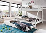 Etagenbett mit Bettkasten Hochbett Kinderbett Jugendbett Gästebett 90x200cm und 140x200 Massiv Kiefer Weiss