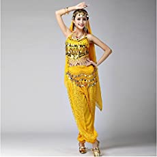 New Indian Belly Dance Yellow Costumes 3 Pcs including Top Pants and Hip Scarf For Women