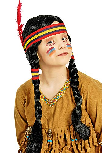 Perücke Indianerin für Kinder - Perücke mit geflochtenen Zöpfen und Haarband - Tolles Accessoire für das Indianer ()