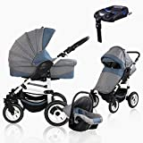 Bebebi Florenz | ISOFIX Basis & Autositz | 4 in 1 Kombi Kinderwagen | Luftreifen | Farbe: Da Vinci Blue White