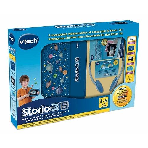 Vtech lerntablet Storio 3S Super Pack accesorios Bundle, Azul–Auriculares, protector de pantalla, funda, tarjeta para Descargas