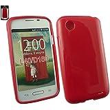 Emartbuy® LG L40 Glänzend Glanz Gel Hülle Schutzhülle Case Cover Rot