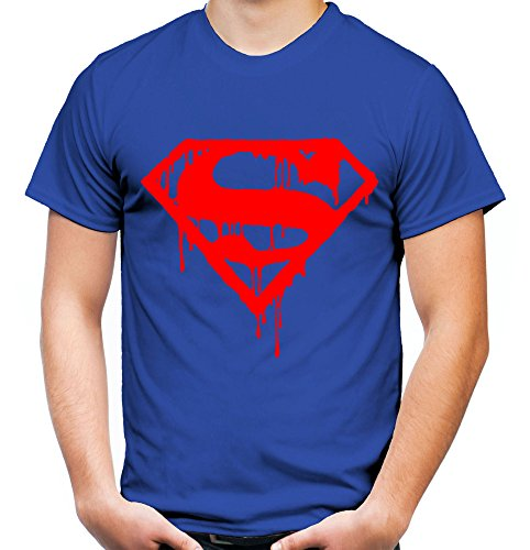 er und Herren T-Shirt | Spruch Retro Comic Geschenk | Roter Druck (XXL, Blau) (Plus Size Superman Kostüm)