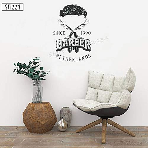 yaoxingfu Wandtattoo Friseur Barbershop Vinyl Wandaufkleber Mann Friseursalon Personalisierter Name Datum Schnurrbart Fenster Kunst Dekor rot 85x130cm