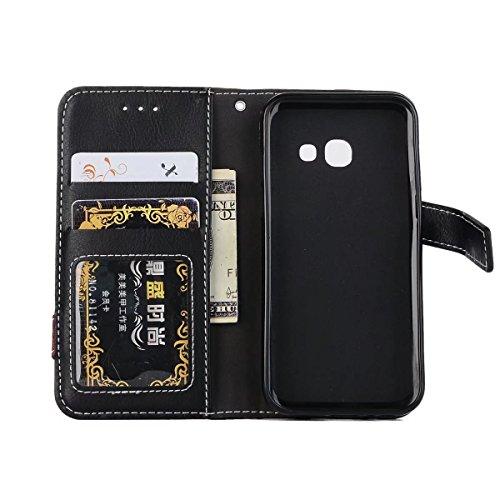 Bookstyle Horizontale Flip Stand Case Litchi Texture Dual Farbe genäht PU Leder Tasche mit Lanyard & Niet Button für Samsung Galaxy A3 2017 ( Color : Blue ) Brown