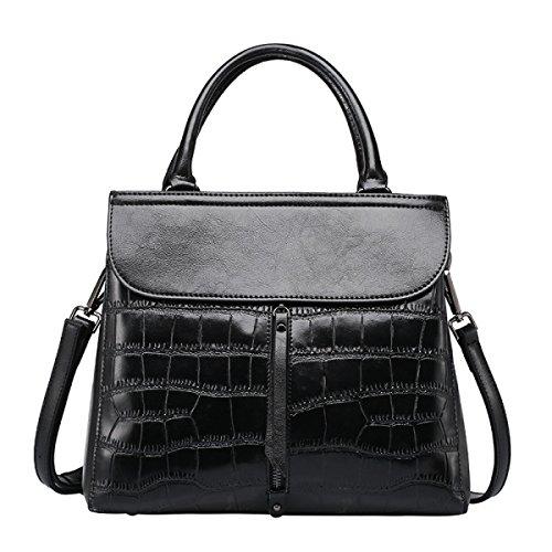 ZPFME Frauen Handtasche Mode Stein Muster Schultertasche Mädchen Party Retro Damen Mode Handtasche Messenger Bag Black