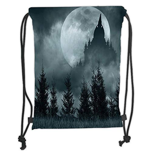 Trsdshorts Halloween,Magic Castle Silhouette Over Full Moon Night Fantasy Landscape Scary Forest,Grey Pale Grey Soft Satin,5 Liter Capacity,Adjustable String Closure