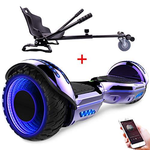 RCB Pack de Gyropode et hoverkart Scooter Electrique 6.5 Pouces avec Les Roues Clignotantes Bluetooth Intégré + Go-Kart Hoverseat Accesoires pour Gyropode Cadeau pour Enfants et Ados