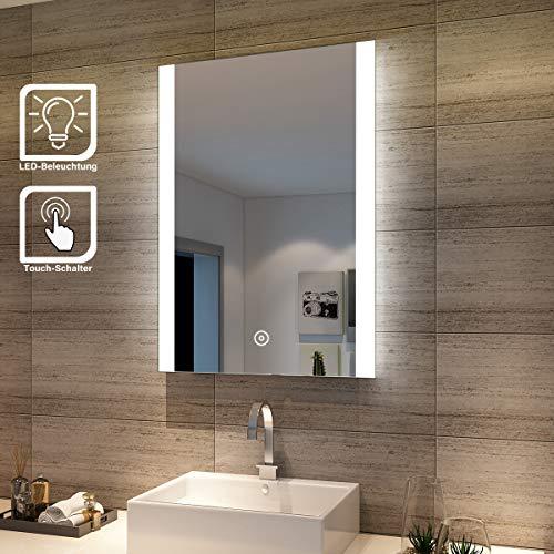 SONNI Badspiegel Lichtspiegel LED Spiegel Wandspiegel 50 x 70cm kaltweiß IP44 energiesparend