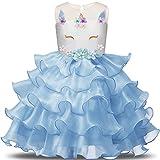 NNJXD Chica Unicornio Flor Volantes Fiesta De Cosplay Boda Vestido De Princesa Tamaño (110) 3-4 Años Azul