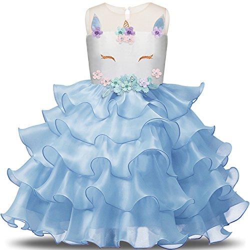 NNJXD Mädchen Einhorn Blume Rüschen Cosplay Party Hochzeit Prinzessin Kleid Größe(130) 5-6 Jahre Blau