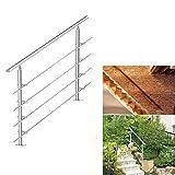 HG® 160CM Edelstahl Handlauf Eingangsgeländer Treppengeländer Handrail Langlebig Garten Tür Bausatz Quertraversen