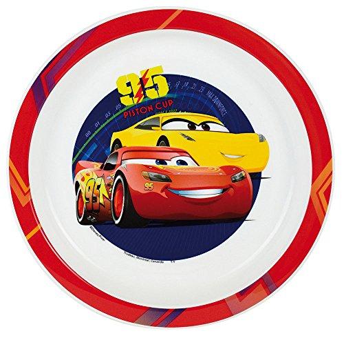 FUN HOUSE 005510 Disney Cars Assiette Micro-ondable pour Enfant Polypropylène, Rouge, 22 x 22 x 1 cm