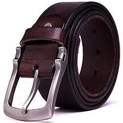 Teemzone Cinturón de Hombre Piel Cuero Antiguo Cinturones de Tela Vendimia Robusto