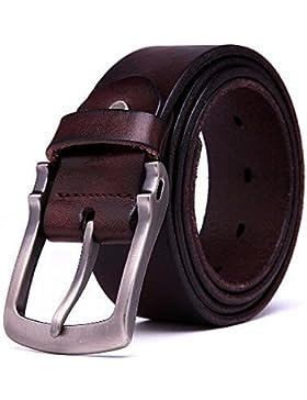 Teemzone Cinturón de Hombre Piel Antiguo Cinturones de Vaquero Tela Vendimia Robusto
