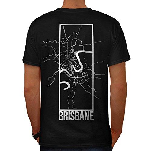 Brisbane Stadt Karte Mode Groß Stadt Karte Herren M T-shirt Zurück | Wellcoda