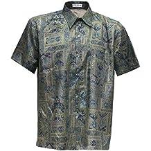 Camiseta de manga corta de los hombres de seda tailandesa y pájaros, verde, ...