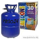 Helo Helium Ballon Gas 0,25m³ (13,4 Liter Flasche) für 30 Ballons, Einweg Helium Gasflasche mit Sperrvorrichtung und Knickventil für Einfache Befüllung