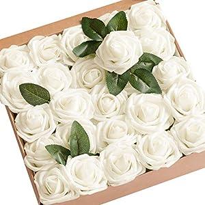Rosas artificiales Ksnrang de espuma de color fucsia de aspecto muy real. Para manualidades, ramos de novia, centros de…