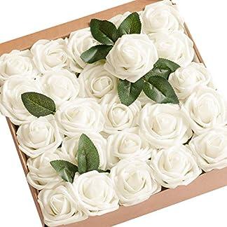 Ksnrang Rosa Artificial Flor roja Ajustable Toque Real decoración Boda Restaurante casa cumpleaños Dormitorio Mesa Armario, Rose Pétant, 25 pièces