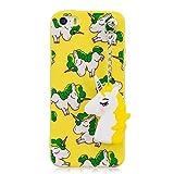Chreey iPhone 5 5S SE Hülle, Nettes Cartoon Einhorn Handy Schutzhülle mit Metallkette Einhorn Anhänger TPU Silikon Weich Handyhülle Bumper Case Etui, Gelb