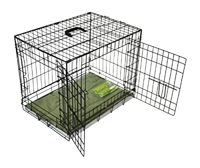 BUNNY BUSINESS Metal Dog Crate 2 Doors with Bedding and Lint Rollers, Medium, 30-inch, Black