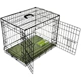 Bunny Business Metal Dog Crate 2 Doors includes Bedding and Lint Rollers, 24-inch, Black