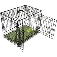 BUNNY BUSINESS Caja de metal para perro (2 puertas, con rodillo de ropa de cama y pelusa, tamaño mediano, 76,2 cm), color negro