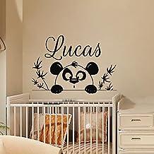 Nombre personalizado etiquetas de la pared de la etiqueta engomada del vinilo de la rama de árbol muchacho de la panda de guardería Sala de juegos Dormitorio del arte en murales MN567