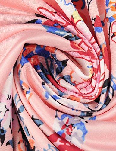Ruiyige Donne Estate fuori dalla spalla floreale vestito casual stampa senza maniche vestito irregolare Rosa
