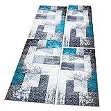 Bettumrandung Flachflor, Modern Meliert in Türkis/Grau, 3-teiliges Teppich-Läuferset 2x 80x150/ 1x 80x300cm für Schlafzimmer