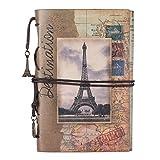Maleden Tagebuch mit Paris-Motiv, Reisenotizbuch, mit Ledereinband, Vintage-Stil, klassisch, nachfüllbar, Planer für Mädchen und Jungen, blanko, mit Reißverschlussfach Paris