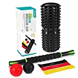MOVTOTOP Foam Roller, Muscle Roller Stick, 3 Bande di resistenza 2 Massage Lacrosse Ball con Carry Bag, Set di massaggiatori Physical Therapy & Exercise, Fitness