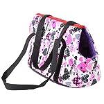 Pet Handbag Dog Canvas Carrier Bag Foldable Washable Travel Carrying Shoulder Bag for Small Medium Pets (S, White) 7