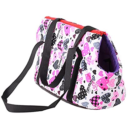 Pet Handbag Dog Canvas Carrier Bag Foldable Washable Travel Carrying Shoulder Bag for Small Medium Pets (S, White) 1