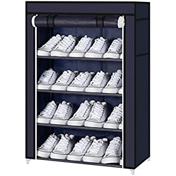Zizer 4 Layer Shoe Rack for Home Cabinet with Cover Water-Proof & Dust-Proof Shoes Storage Organizer Entrance Door 60 x 30 x 72 cm [Navy]