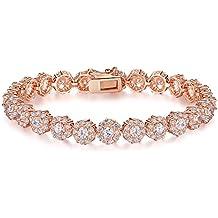 Presentski 18k bracciale tennis in oro rosa placcato con Bianchi Austria Cubic Zirconia Pietre per le donne Ragazze