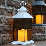 Festive Lights - Lanterna a LED da Giardino, Alimentazione a Batteria, per Interni ed Esterni, 31 cm, Colore: Bianco