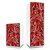 posterdeluxe Kühlschrank- & Geschirrspüler-Folie - Pepperoni - Dekorfolie Aufkleber Klebefolie Front Paprika