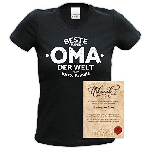 TOP Geschenk Shirt perfekt zum Muttertag, Geburtstag, Weihnachten, Ostern �?mit Spruch - Beste Oma der Welt Farbe: schwarz Schwarz
