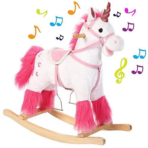 BAKAJI Unicorno Cavallo a Dondolo per Bambini con Suoni Realistici Struttura in Legno e Tessuto Peluche di qualità Giochi Infanzia (Bianco)