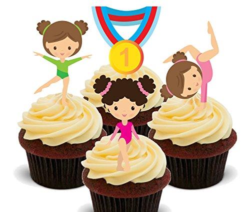 Medaillen, Gymnastik essbaren Kuchen Dekorationen-Stand-up Wafer Cupcake Topper, 24er-Pack ()