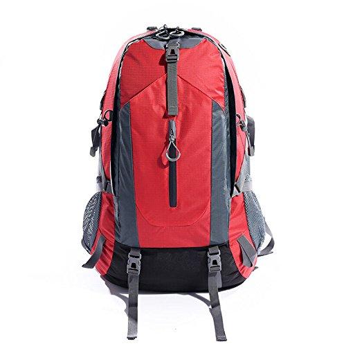 GOUQIN Zaino Outdoor Classico Moda Per Esterno 50L Alpinismo Zaini Borsa Da Viaggio Impermeabile A Piedi Di Usura Sulla Confezione, Blu Rosso