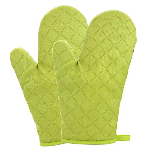OVOS Baumwoll-Ofen-Handschuhe Flammschutzmittel Gesteppte Silikon-Beschichtung Hitzebeständige Potholder-Handschuhe Mikrowellen-Ofen Handschuh für Küche BBQ (Gelb) Mikrowellen-ofen-fäustlinge