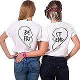 JWBBU Best Friends T-Shirt Guter Freund Herz T-Shirt mit Aufdruck für Zwei Damen Mädchen Sommer Weiß Schwarz Oberteil Geburtstagsgeschenk Jahrestagsgeschenk 2 Stücke (BE-S+ST-S, Weiß)